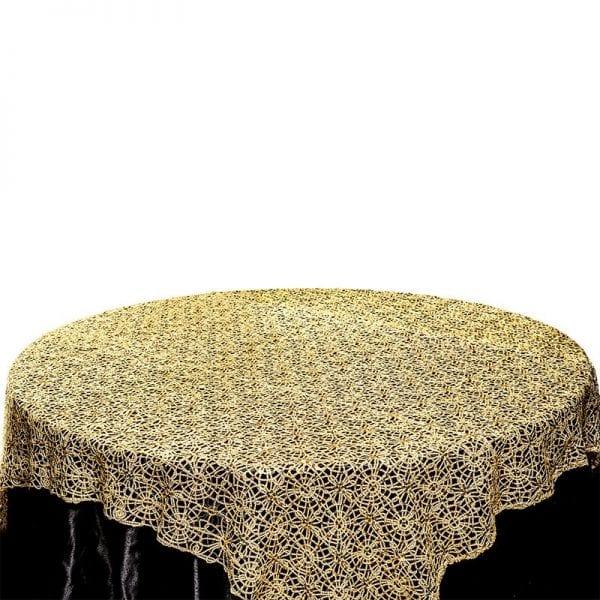 Designer Gold Mesh Overlay Table Cloth