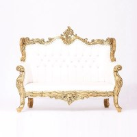 White & Gold Tufted Love Seat  Event Rent