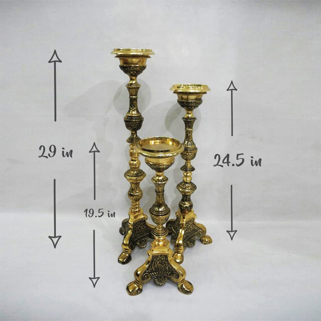 3 Tier Gold Candle Holders