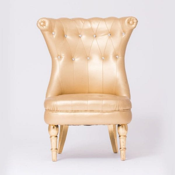 Gold Tufted Chair With Stones