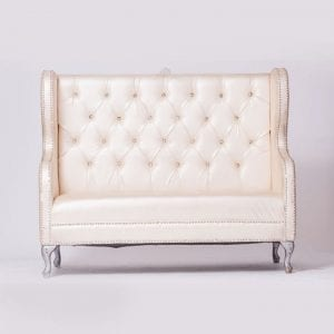 Champagne tufted love seat