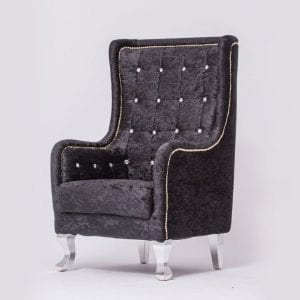 Black Tufted Chair On Event Rent