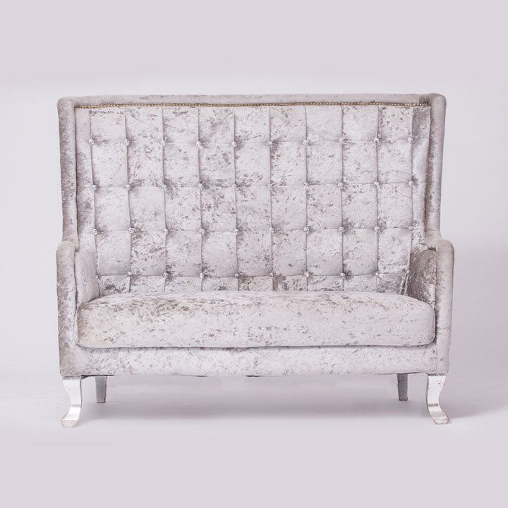 Silver Tufted Seat For Wedding