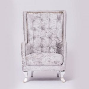 Modern Style Silver Velvet Tufted Chair