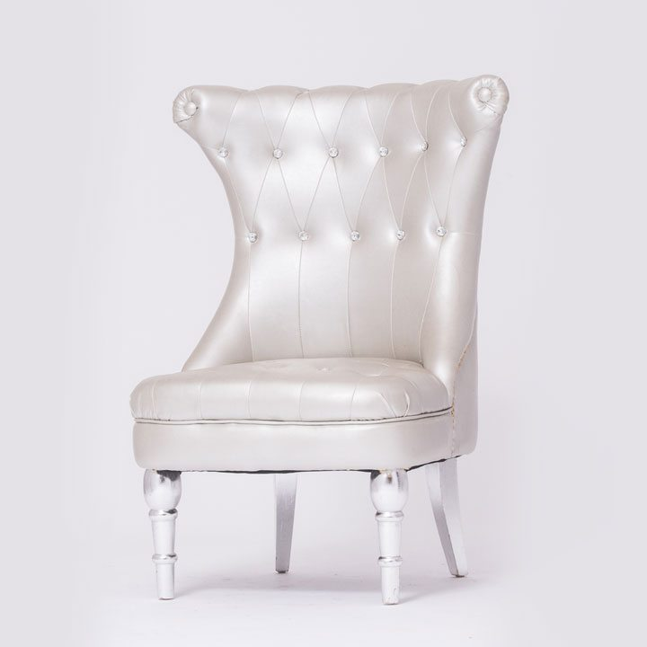 Silver Tufted Chair with New Look