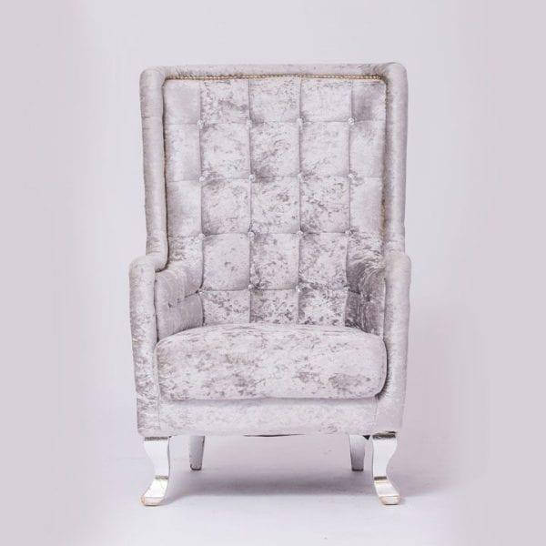 Modern Style Silver Velvet Tufted Chair