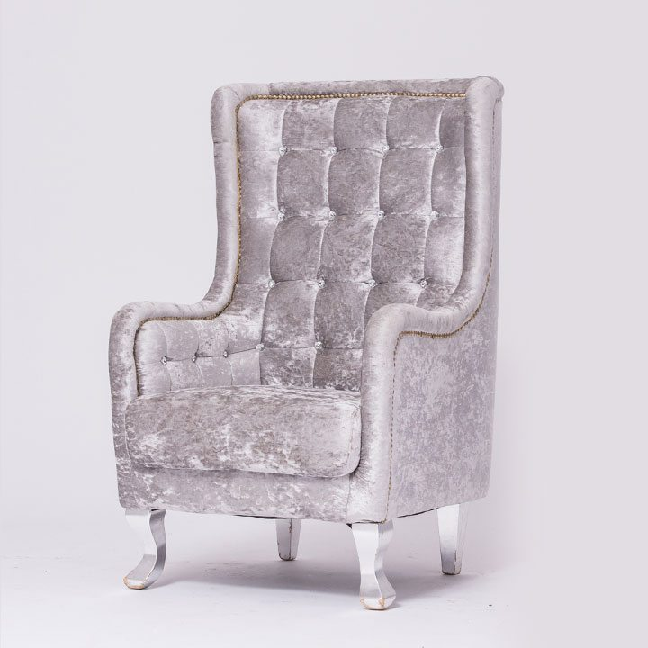 Silver Velvet Tufted Chair