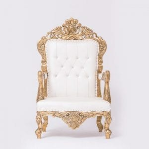 Golden & White Colour Outline Chair