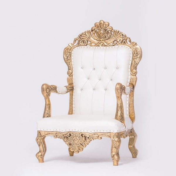White and Gold Tufted Chair