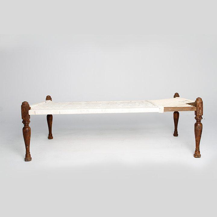 Wooden White Cot khatiya