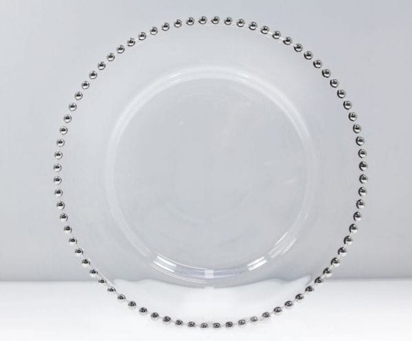 Silver Beaded Glass Charger