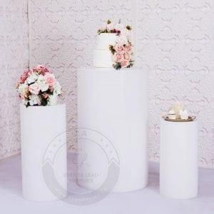 white stands, walk way, weddings