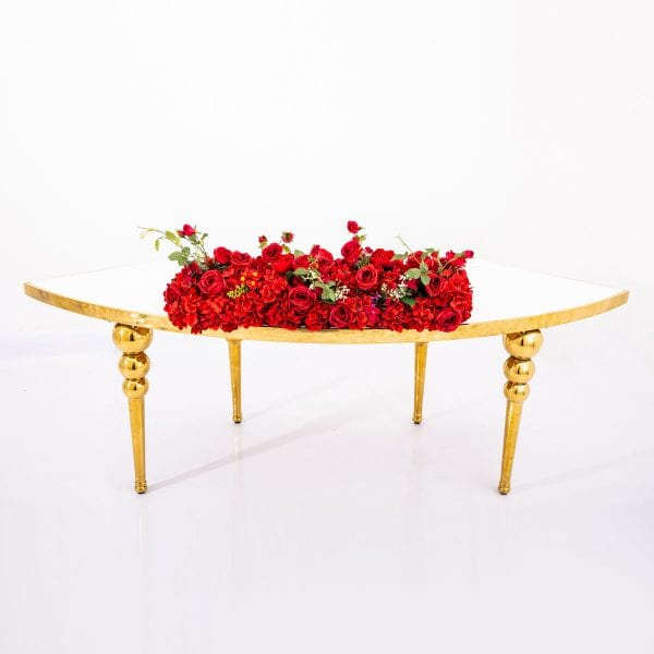 Red Flower Arrangement Rectangle Table