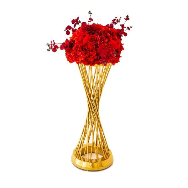 Red Flower Arrangement Round Table Rental