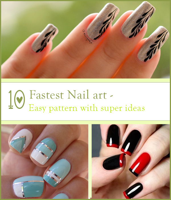 1 Easy Stroke By Silver Glitter On Black Or Blue Nail Paint Give Super And Fantastic Look Follow 6 Step Point