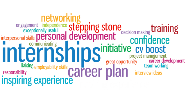 Tag cloud of terms related to internships