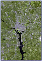 Landsat image of Washington, DC. Credit: NASA Goddard Space Flight Center.