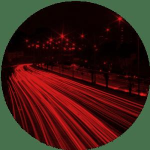 Lights flashing on a road