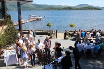 Lodge on loch Lomond in the summer