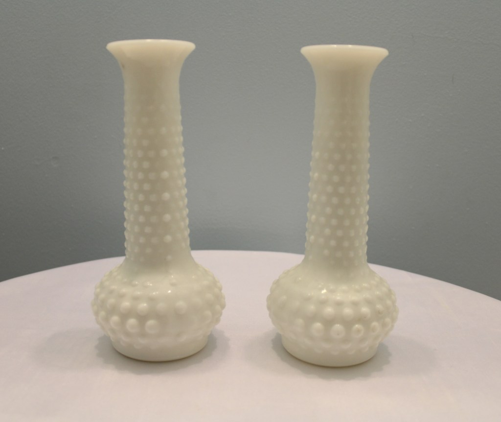 Milk Glass Hobnail Bud Vases (set of 2) Image