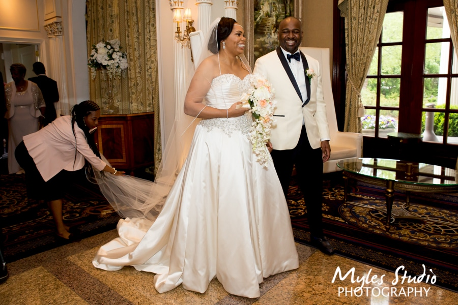 A Happy Couple and Wedding Planner at VIP Country Club in New Rochelle, NY
