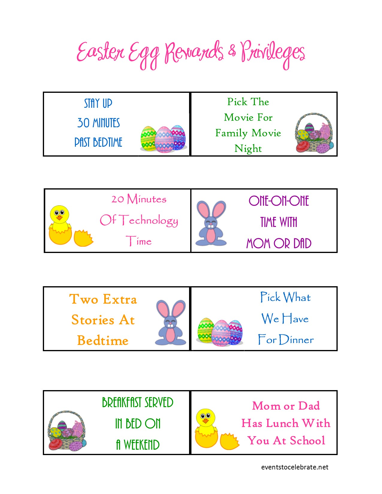 No Candy Easter Ideas Easter Rewards Printable