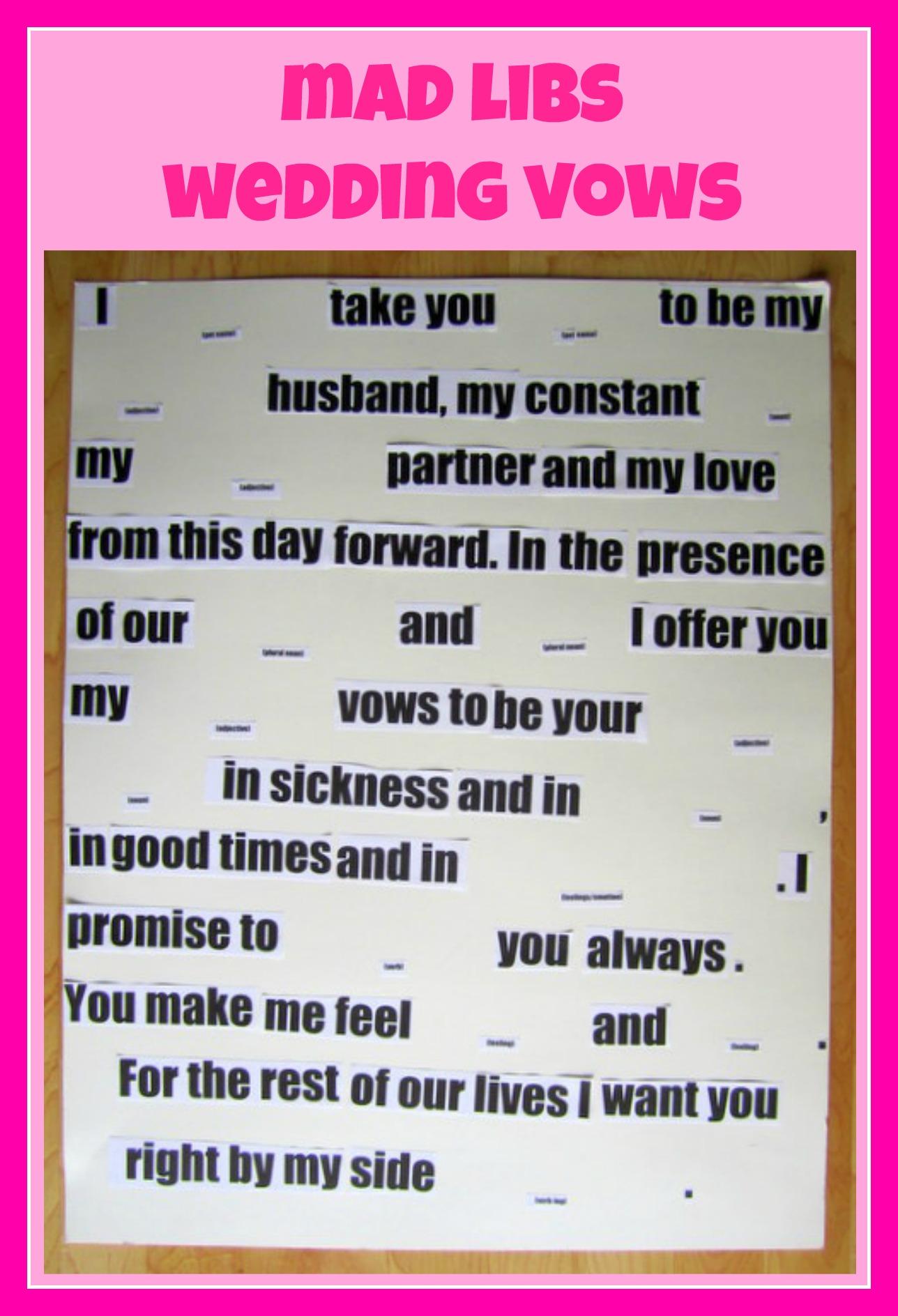 Mad Libs Wedding Vows