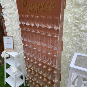 Rose Gold Prosecco Wall Hire for Weddings, Birthdays, Christening, Corporate, Hen Party Event Walls