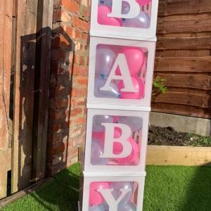 White BABY Blocks & Balloons