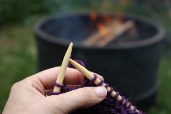 Knitting by the fire
