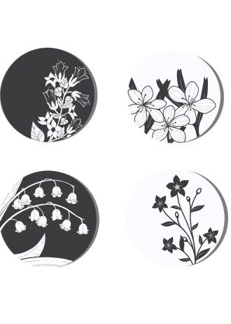 black and white buttons set