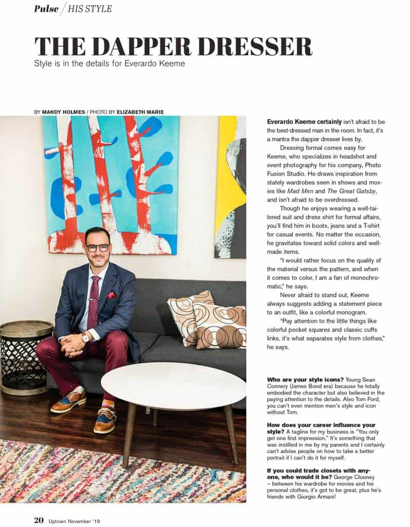 Everardo Keeme Photography The Dapper Dresser, Everardo Keeme, Featured in Uptown Phoenix Magazine Phoenix Photographer