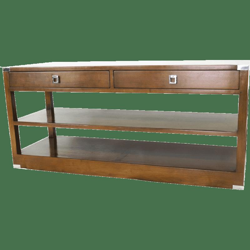 meuble tv vasco en bois massif et ornements en inox everart e mtv01