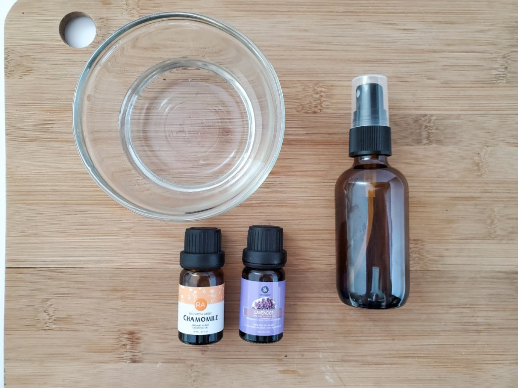 Ingredients for Sleepy Time Linen Spray: distitlled water, chamomile essential oil, lavender essential oil, glass spray bottle