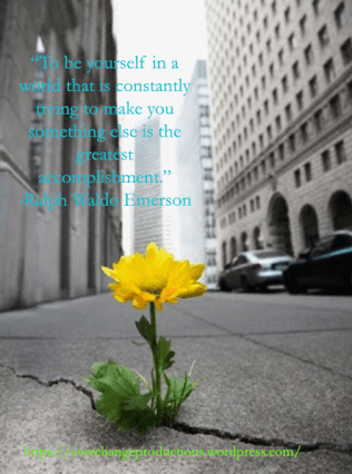 """""""To be yourself in a world that is constantly trying to make you something else is the greatest accomplishment."""" - Ralph Waldo Emerson motivational quote"""