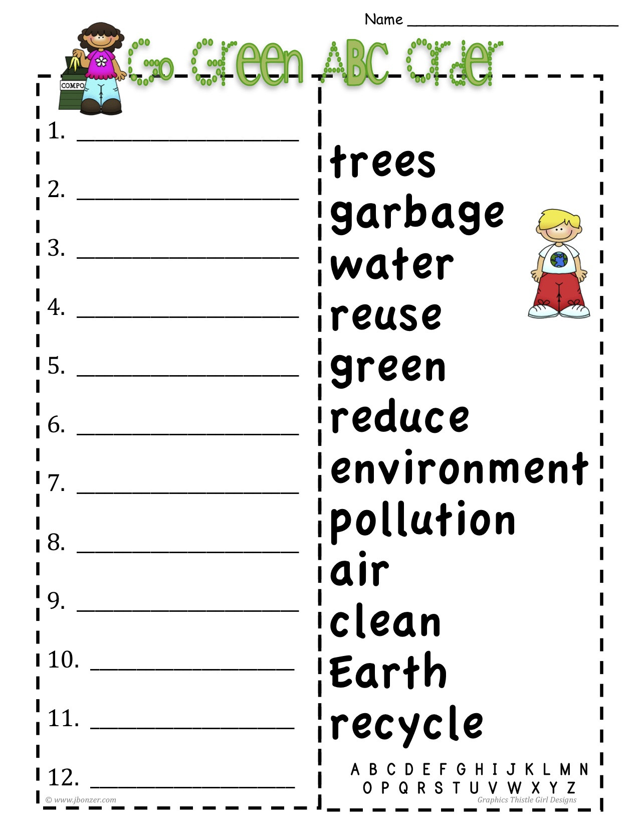 Abc Order Worksheet Kindergarten