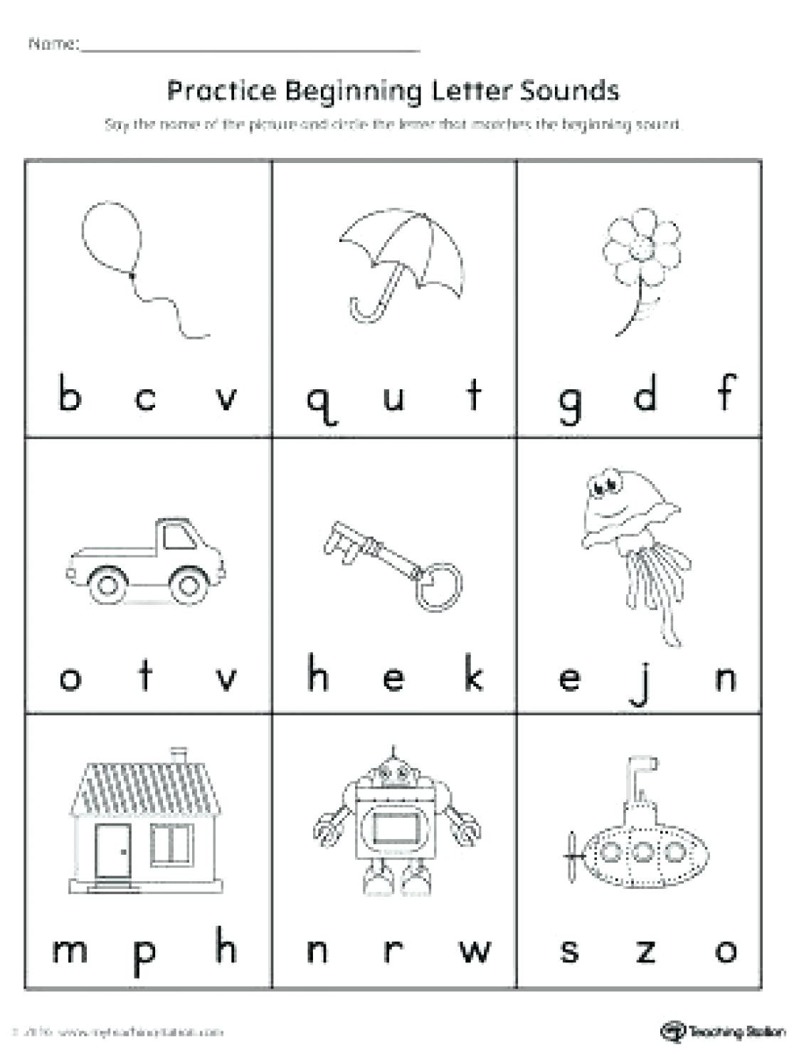 Kindergarten Letter Sound Worksheets