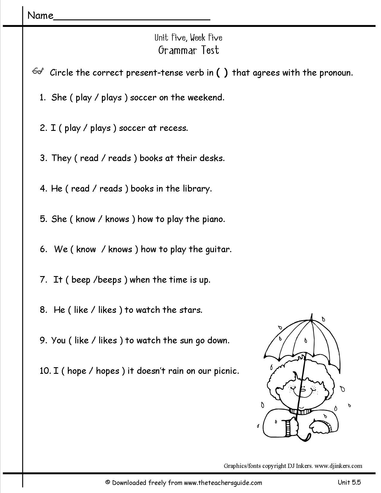 High School Sentence Structure Worksheets