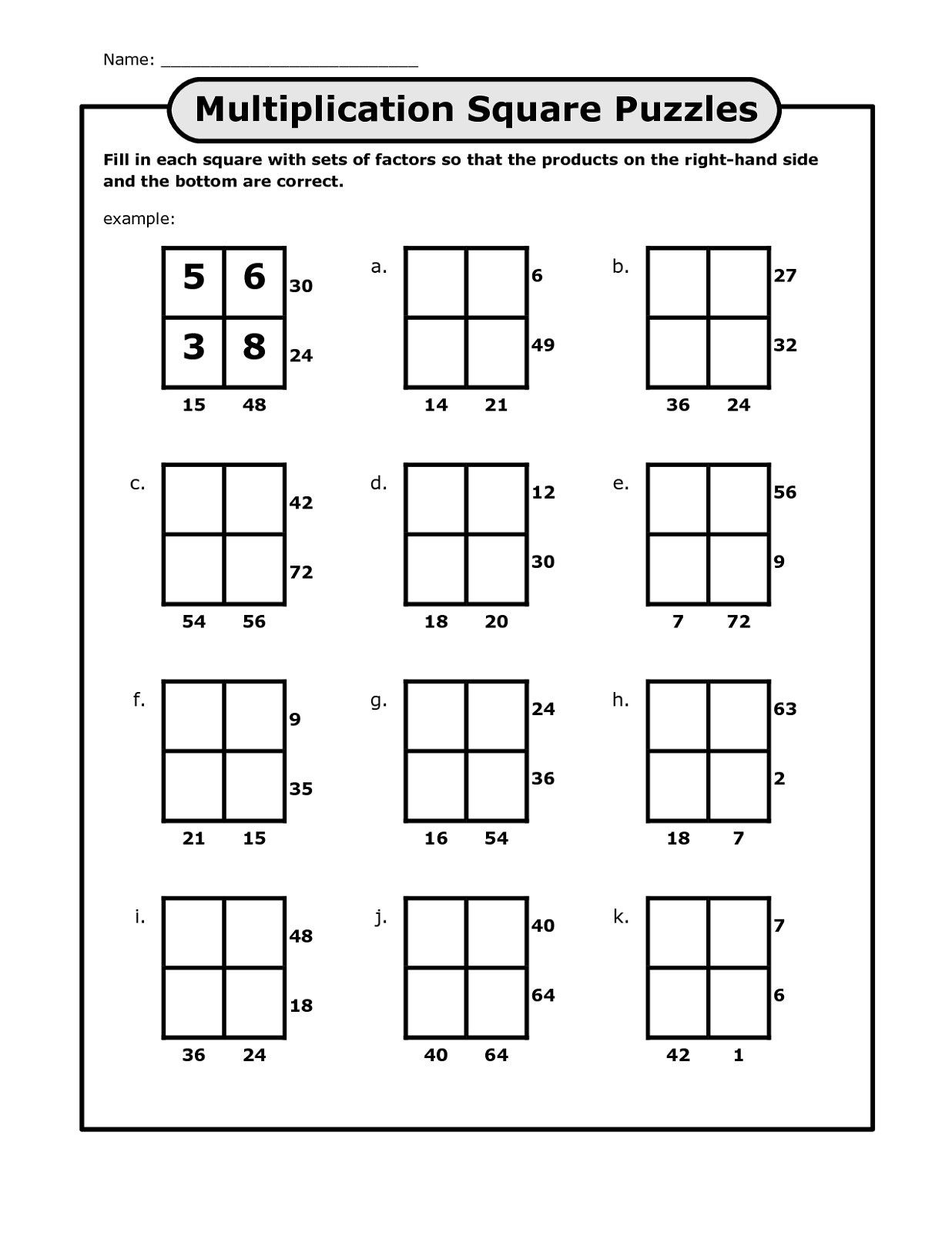 Number Grid Puzzles Worksheets