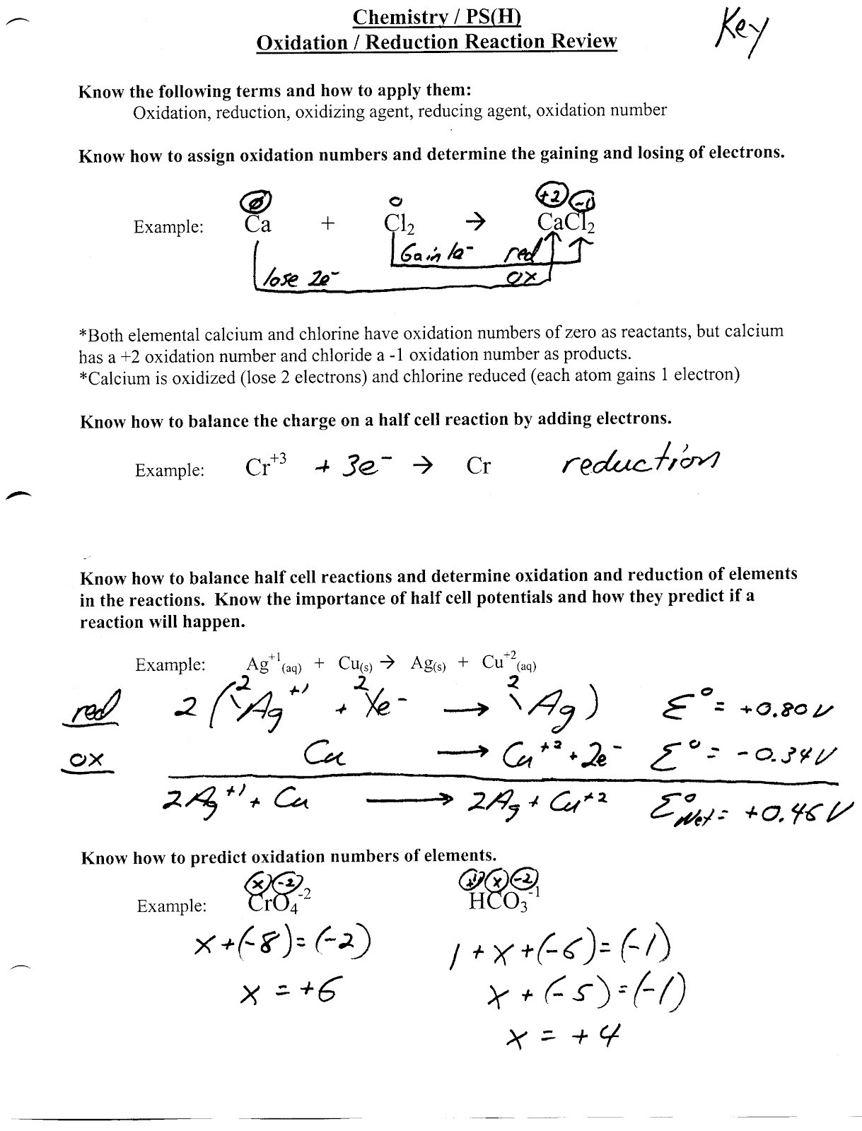 Oxidation Number Worksheet With Answers Worksheet For