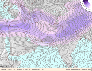 Winter jet stream at 200 mb winds about 140 knots. Photo: National Centers for Environmental Prediction