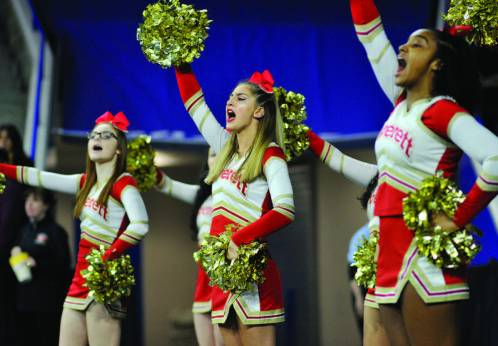 Crimson Tide cheerleaders are pictured during Saturday's Div. 1 North final at the Lowell's Tsongas Center.
