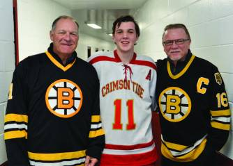 Everett Crimson Tide senior captain Nathan Johnson and Bruins greats Reggie Lemelin and Rick Middleton.