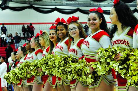 The 2017-18 varsity basketball cheerleaders
