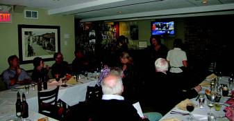 Kiwanis members and guests enjoy Monday's dinner.