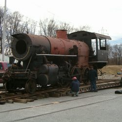 2007: Smokebox front being removed.  Photograph by Dan Pluta