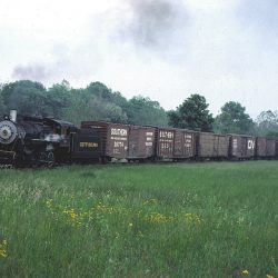 #38 pulls a working mixed freight as part of an NRHS excursion on the Gettysburg.  Alan W. Maples, Photograph