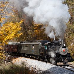 During her first weekend in operation, Number 11 leads passengers south towards Brookes Mills through the beautiful fall scenery.