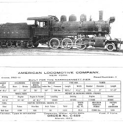 The ALCO builders photo paster for #11, showing her as-built configuration for the Narragansett Pier Railroad.