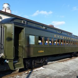 Freshly-outshopped Everett Railroad Coach 1194 rests between runs at Duncansville, PA.